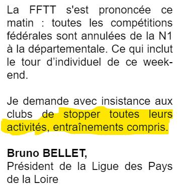 Arrêt des activités (covid19) - ASTA Nantes